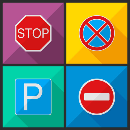 Road signs in the style of a flat design. Vector