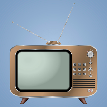 Vintage TV with an indoor antenna on a dark background. Vector