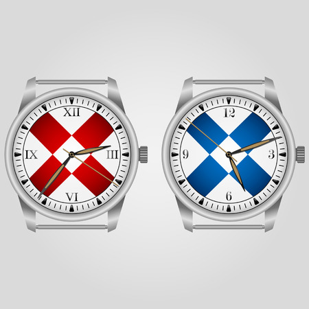 Mechanical watches in two versions design on a light background. Vector