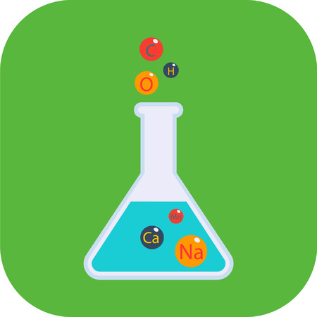 Chemical conical flask icon laboratory glass beaker lab vector Illustration