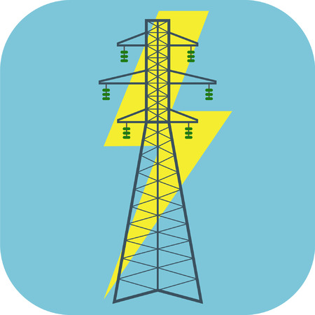 Electricity flat icon suitable for info graphics, websites and print media Çizim