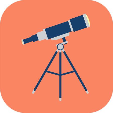 Ruimte telescoop platte pictogram