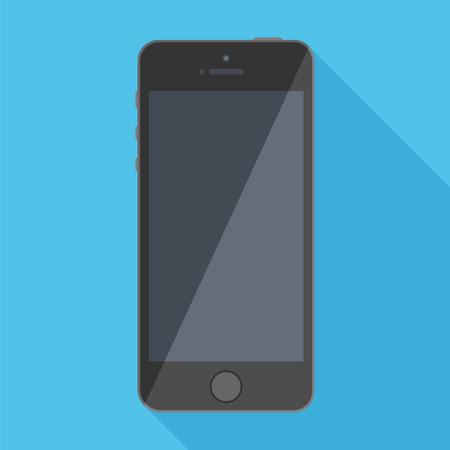 Black Mobile Phone On A Blue Background. Vector Illustration Of Flat Design.