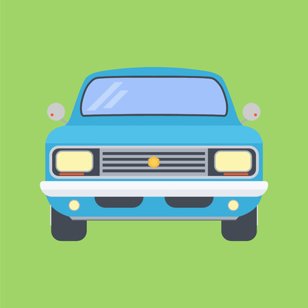 Car On A Green Background. Vector Illustration Of Flat Design