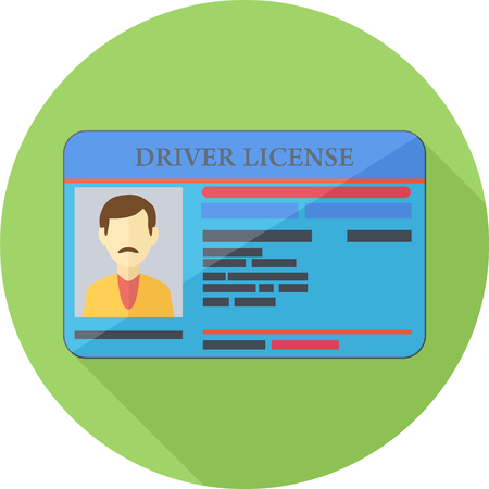 ide: Driver License Green Round Flat Icon