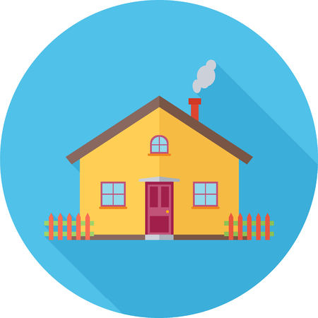 House Blue Round Flat Icon