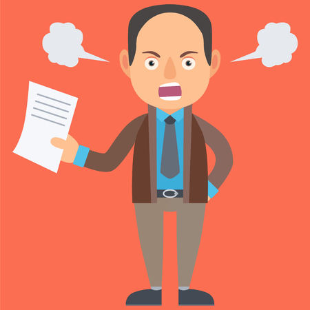 Angry Businessman. Vector Illustration. Cartoon. Character