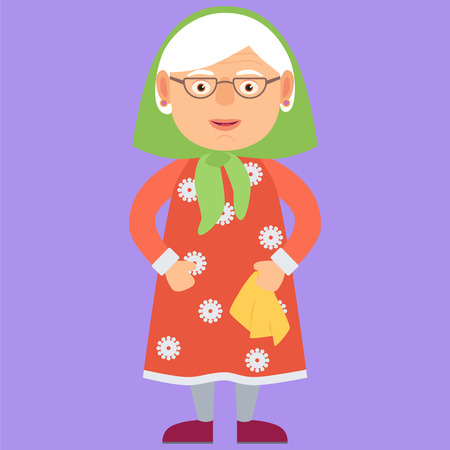 Kind Grandmother. Vector Illustration. Cartoon. Character Ilustração