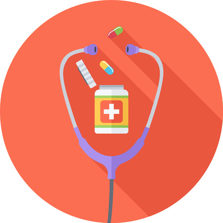 Medicine Round Flat Icon. Pills And Phonendoscope. Vector Illustration Illustration