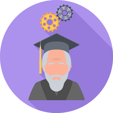 Philosophy Round Flat Icon. Vector Illustration