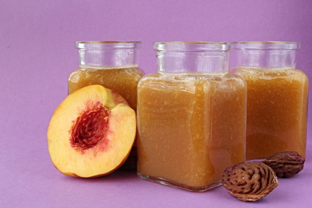 Popular fruit drink with half foetus and pips. Stock Photo