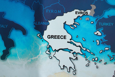 Map of Greece in blue tones