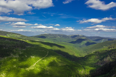 Panorama of Giat mountain from Czechia. Summer photo with peakts.