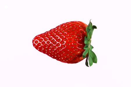 One strawberry on white background. Popular fruit. Detil one strawberry.