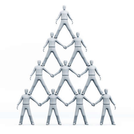 three dimensional shape: 3D pyramid of people Stock Photo