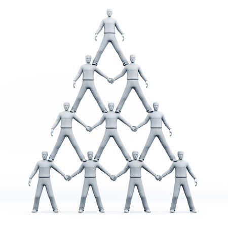 piramide humana: Pir�mide 3D de personas