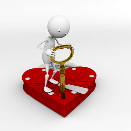 plight: The key is inserted in the lock of the heart, the character tries to open the lock (for 3D WEB) Stock Photo