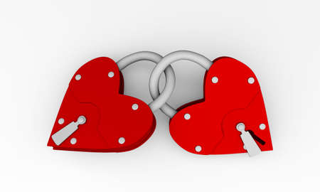Two hearts as two loving people, closed with a key (3d)
