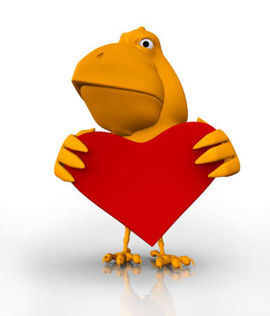 acknowledgement: 3d bird with a big red heart in hes hands Stock Photo