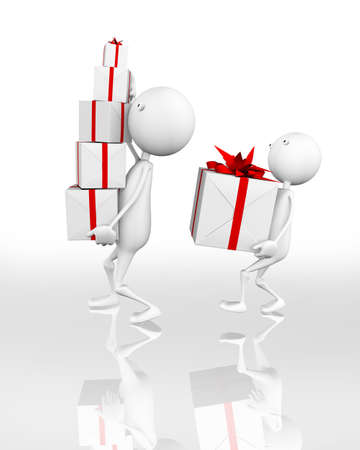 Happy gift, ideal for christmas or birthdays, 3d generated Stock Photo - 7474388
