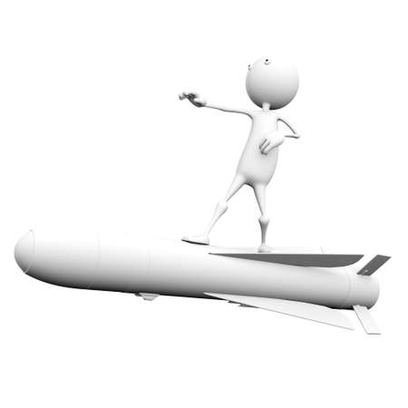 3d man flying on a rocket Stock Photo - 7736590