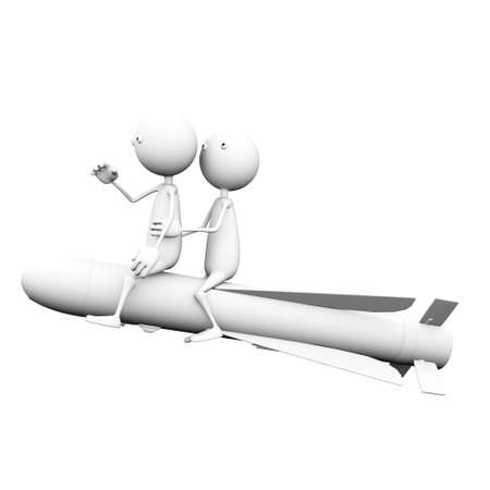 3D two people flying on a rocket photo