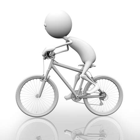 3d man rides a bicycle. Behind a white background. photo