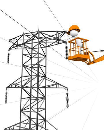 3d image of electrical company linemen performing work. photo