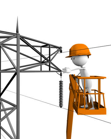 3d image of electrical company linemen performing work photo
