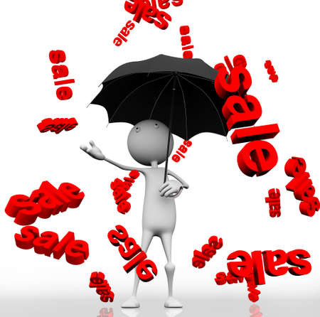 3d man with an umbrella, the rain from the sky with sale bills on white background. Stock Photo - 9860834