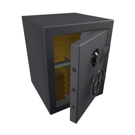 full strenght: Metal safe with gold bullion inside on a white background
