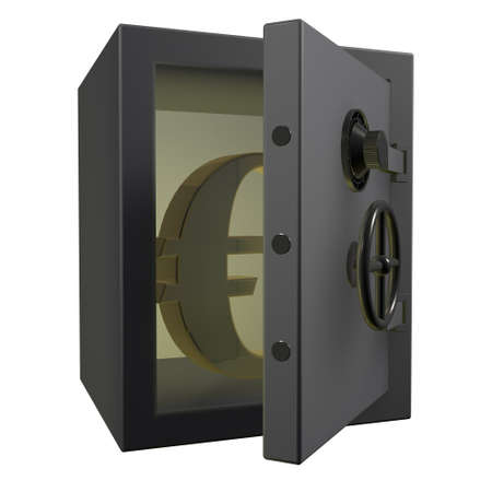 Opened safe with gold euro symbol 3d render photo