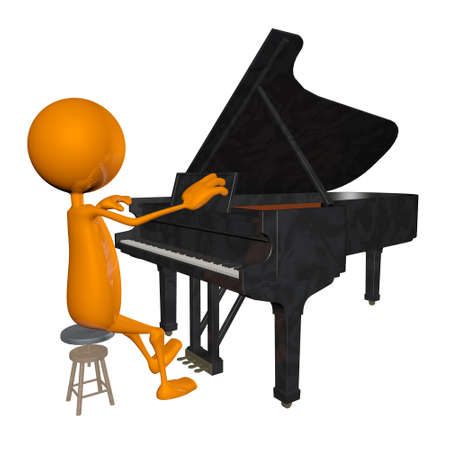 3d Young man playing the piano photo