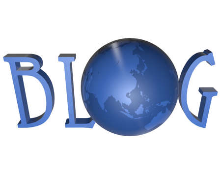replacing: blue word Blog with 3D globe replacing letter O Stock Photo