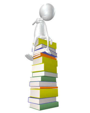 Man sitting on stack of books - This is a 3d render illustration