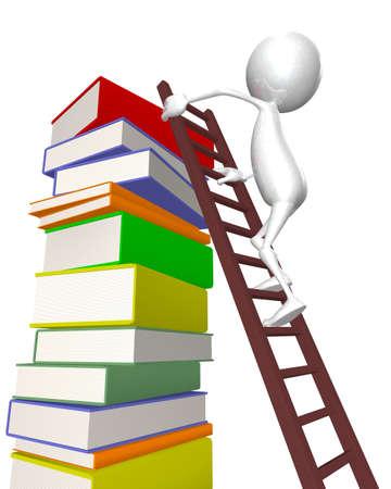 estudiando: hombre 3D sube las escaleras - libros para el conocimiento Foto de archivo