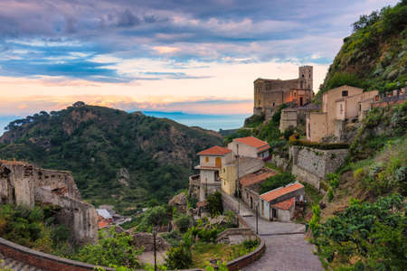 Church of St. Nicolò at sunset, Savoca, Italy. Savoca was the location for some scenes of the Godfather movie.