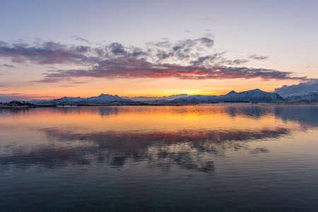 Sunrise in Lofoten with a view to the bridge Banco de Imagens