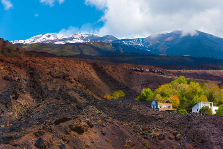 Ruins of a house kept between the lava flows in one of the lasts eruptions of Etna Banco de Imagens