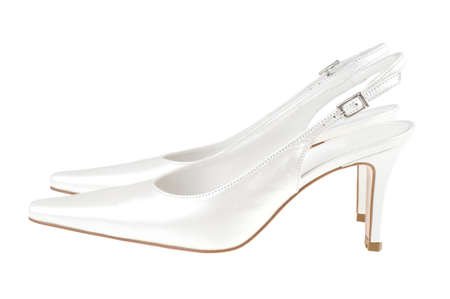 White woman shoes on a white background