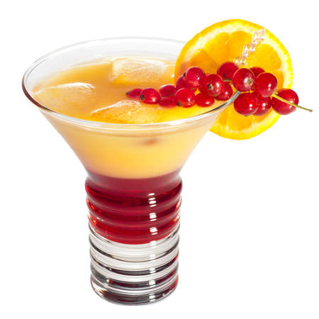 Electro cocktail with orange and red currants decoration Stock Photo