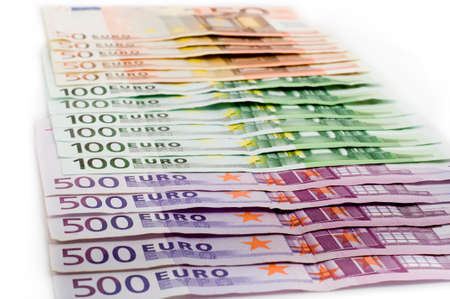 Euro banknotes money european currency including 50, 100 and 500 euros