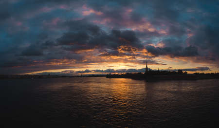 neva: Sunset on Neva river