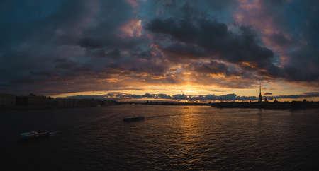 neva: Sunset on Neva river