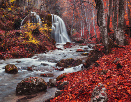 Silver Stream Waterfall (Autumn in the Grand Canyon Of Crimea) Stock fotó