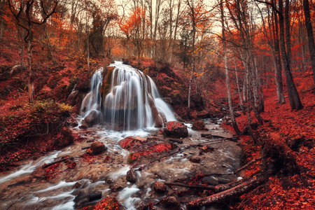 water scape: Silver Stream Waterfall (Autumn in the Grand Canyon Of Crimea) Stock Photo