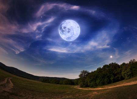 Beautiful night sky with the full moon and stars. Spring in Crimea