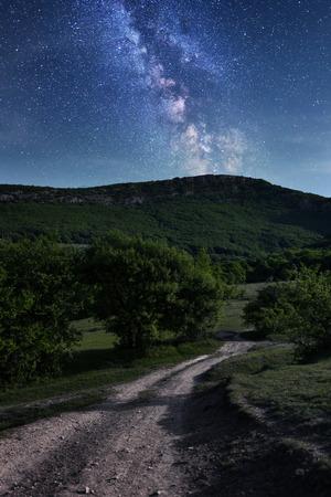 Milky Way. Beautiful night sky with stars in Crimea