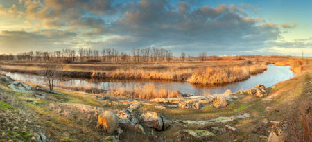 Beautiful panoramic landscape. Autumn on the river in Ukraine photo