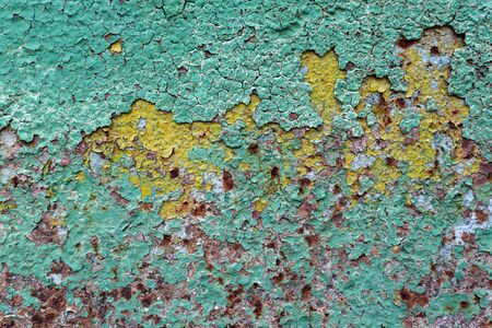 oxidized: abstract corroded colorful wallpaper grunge background iron rusty artistic wall peeling paint. Oxidized metal surface. Abstract texture